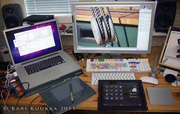 Wacom, iPad, two keyboards, trackpad, mouse...
